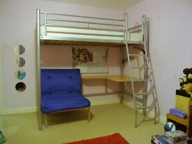 Children's Jay-be bunk bed with desk and futon. (bed mattress not included)good condition