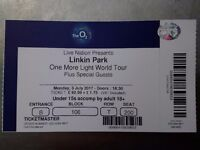 Linkin Park Monday 3rd July O2 Arena - Seated - ticket in hand