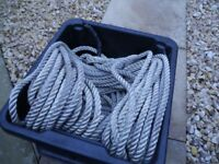 Nylon safety rope in almost as new condition, 15mm Dia x 200 feet long, 60 Mtr. nylon eye on one end