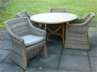 Conservatory table and chairs – super quality and super condition. Unusual quirky table.