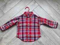 Designer baby boy clothes, Red checked Ralph Lauren baby shirt, age 9 month