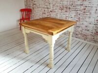 Farmhouse Extending Rustic Dining Table Set - Drop Leaf Painted in F&B Ergonomic, Space Saving