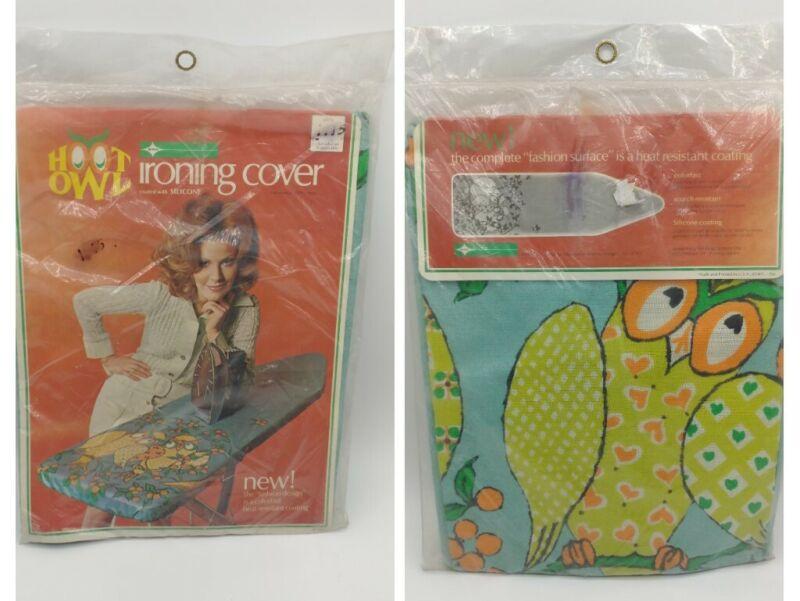 Vtg Hoot Owl Textile Mills Ironing Board Cover Cotton Owl Blue Green Orange NOS