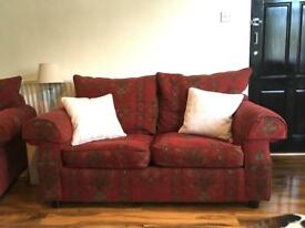 Red pattern sofa and armchair suit