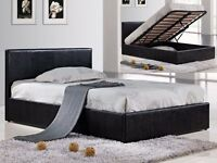 "4FT6 OR 4FT DOUBLE GAS LIFT OTTOMAN STORAGE LEATHER BED £129, w/ 13"" THICK MEMORY FOAM MATTRESS £239"