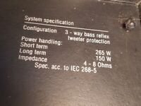 2 x JAMO D 265 BASS REFLEX SPEAKERS 265watt