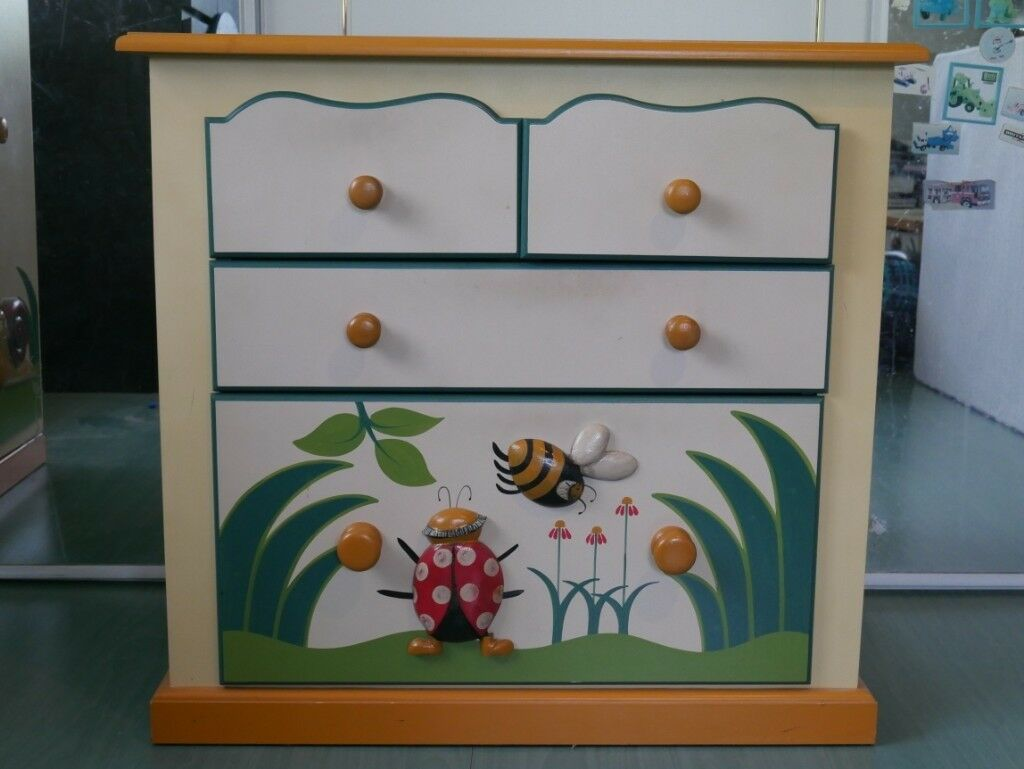 Bugs Themed Handcrafted Hand Painted Childrens Bedroom Furniture Set - Painted childrens bedroom furniture