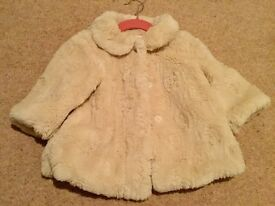 Little girls MONSOON Faux Fur coat. Age 12-18 months. Immaculate.