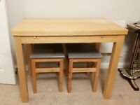Ikea BJURSTA extendable dining table + 2x ODDVAR stool