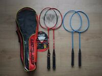 Badminton set x4 and 1 shuttle. Carry on bag included.
