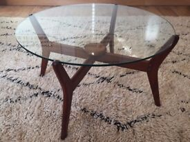 Round Mid Century Danish Glass Coffee Table
