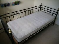 Metal Framed 3' bed with Mattress and matching Bedside Table