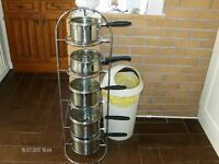 SAUCEPAN STAND FOR 5 SAUCEPANS VERY STRONG IN QUALITY CHROME (CAN DELIVER)( saucepans not included)