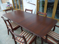 Mahogany Dining Suite, Extending Table With Top Like New