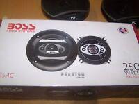 "car stereo boss 4"" 250watt speakers brand new in box car radio cd cost over £60"