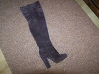 over knee high real sued leather ladies boots size 5