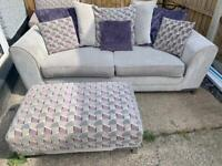 Scs 3 seater sofa & large footstool pouffe