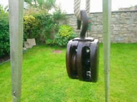 Antique double wooden pulley block with cast iron hook Very Old