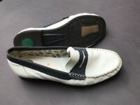 White and Navy Blue Leather Loafers size 40