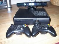X BOX 360 CONSOLE, KINECT, GAMES & 2 CONTROLLERS