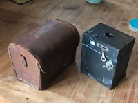 Old browny camera and case.