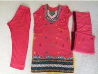Indian/pakistani 3 piece summer suit with embroidery.