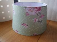 Pretty botanical green and pink floral lampshade
