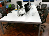 Professional office desk workstation bench white 6 positions