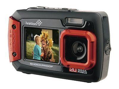 Ivation Red 20MP Underwater Shockproof Digital Camera & Video Camera