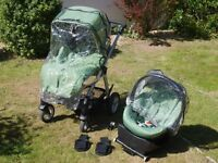 Mamas & Papas Sola pram pushchair travel system with Cybex Aton baby car seat and isofix base