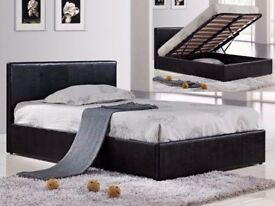 KINGSIZE FAUX LEATHER OTWTOMAN GAS LIFT STORAGE BED FRAME & MATTRESS