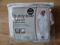 Dunelm Cream Teddy Bear Super Soft Zipped All In One With Hood Size Small As New Condition