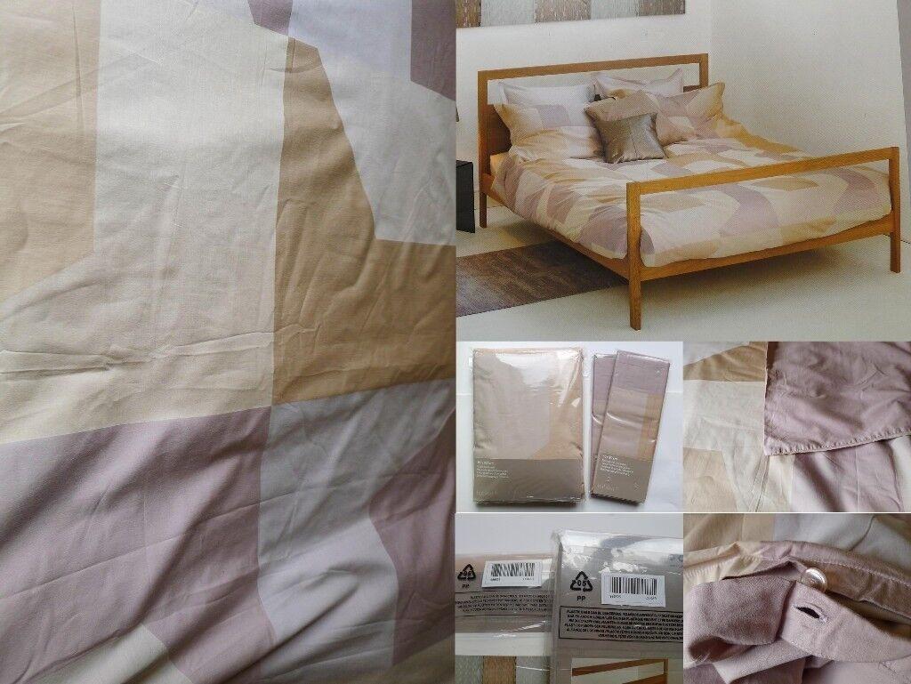 HABITAT Packaged Oskar Patchwork Cotton Sateen Double Duvet Cover Bedlinen Pillow Set NWT £85