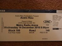 Andre Rieu Two Tickets - Metro Radio Arena Newcastle 14/12/2016