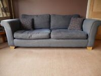 4 seater denim blue sofa