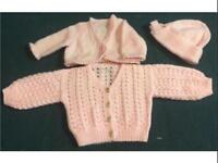 Hand made Baby Girl wool cardigans and hat