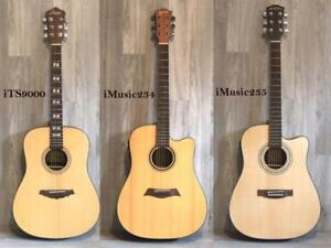 """On Sale ! Solid Top Acoustic electric guitars 41 inch full size with Gig bag, patch cord, 3 picks, string winder"