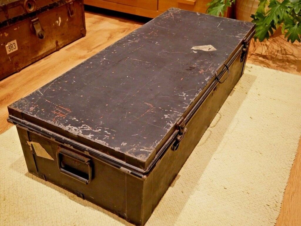 Vintage Metal Military Storage Trunk / Container / Box / Chest / Coffee  Table