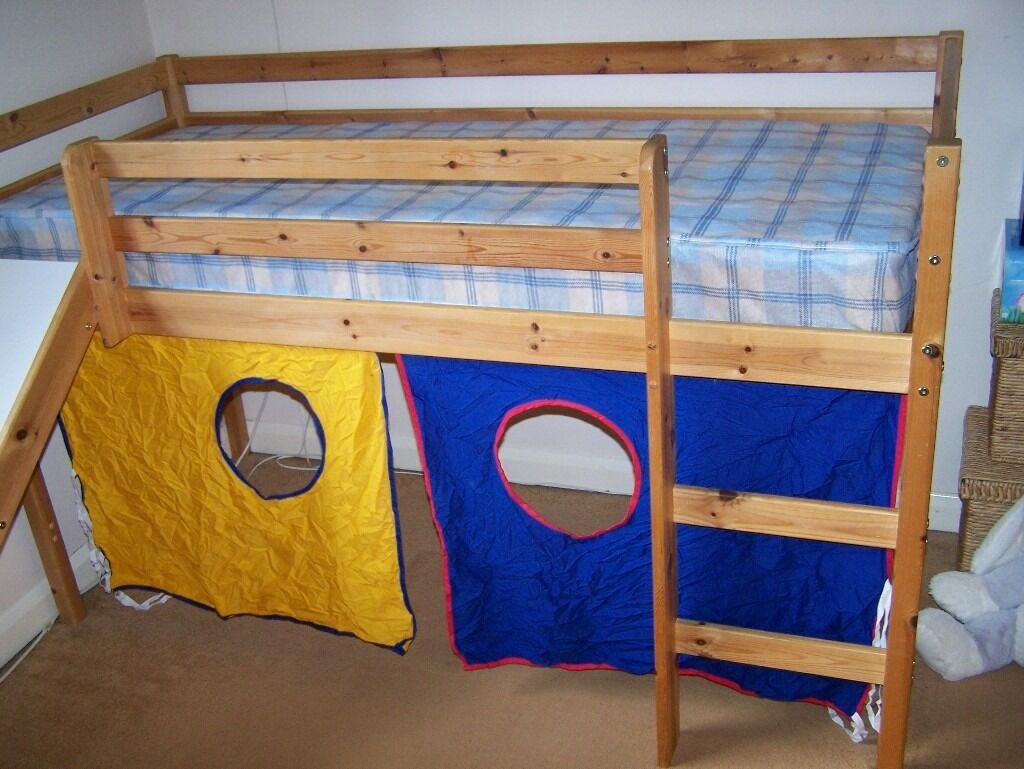 bunk bed solid pine mid sleeper with slide