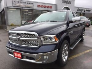 2018 Ram 1500 Laramie Quad 4x4 V8 w/Leather, Navi, Remote Start
