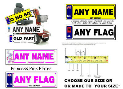 2 x Personalised Novelty Number Plates stickers for MOBILITY SCOOTER/WHEELCHAIR