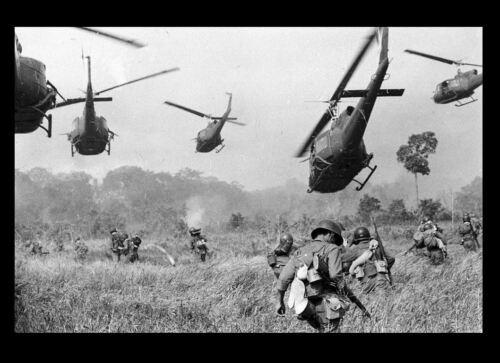 Vietnam War US Army Landing Zone Drop PHOTO Helicopters Fire Machine Guns 66