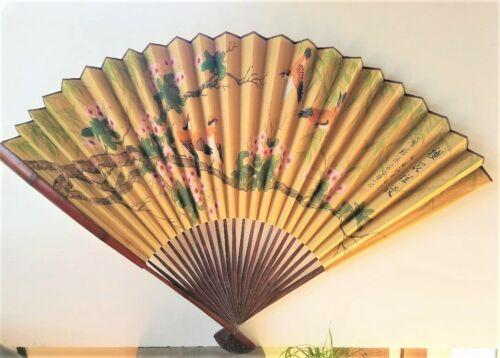 "Vintage Large Asian Handmade Painted Birds & Flowers Bamboo Fan Wall Art 36""×54"""