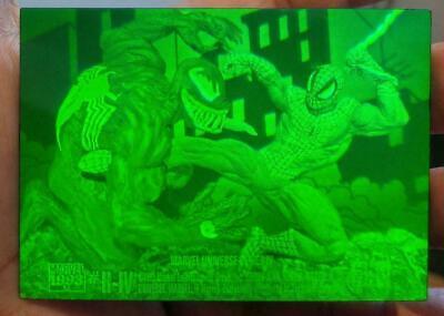 Rare 1993 Marvel Universe H-IV Spider-man vs Venom Hologram Nm/Mint