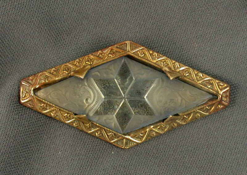 Art Deco Czech Etched Glass Star Brooch Pin
