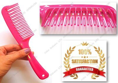 1 x Pink Double Row Tooth Comb with Handle Best Beauty Buys for dry & wet Hair