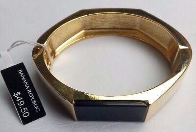 Gold Tone / onyx Hinged Bangle Bracelet by Banana Republic NEW With tag $49.50