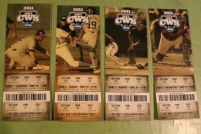 2011 College World Series Cws Td Ameritrade Park Omaha  Ticket Stub Lot Of 4
