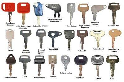 24 Heavy Equipment Construction Ignition Key Set Cat Case Jd Komatsu Jcb Volvo
