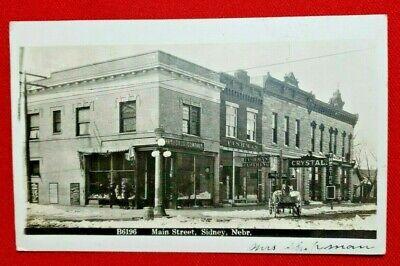 1918 RPPC Sidney, Nebraska - Main Street - WOB,  posted - Zercher photo - EXC
